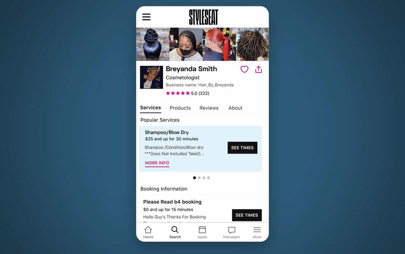 StyleSeat Pro Breyanda Smith Profile