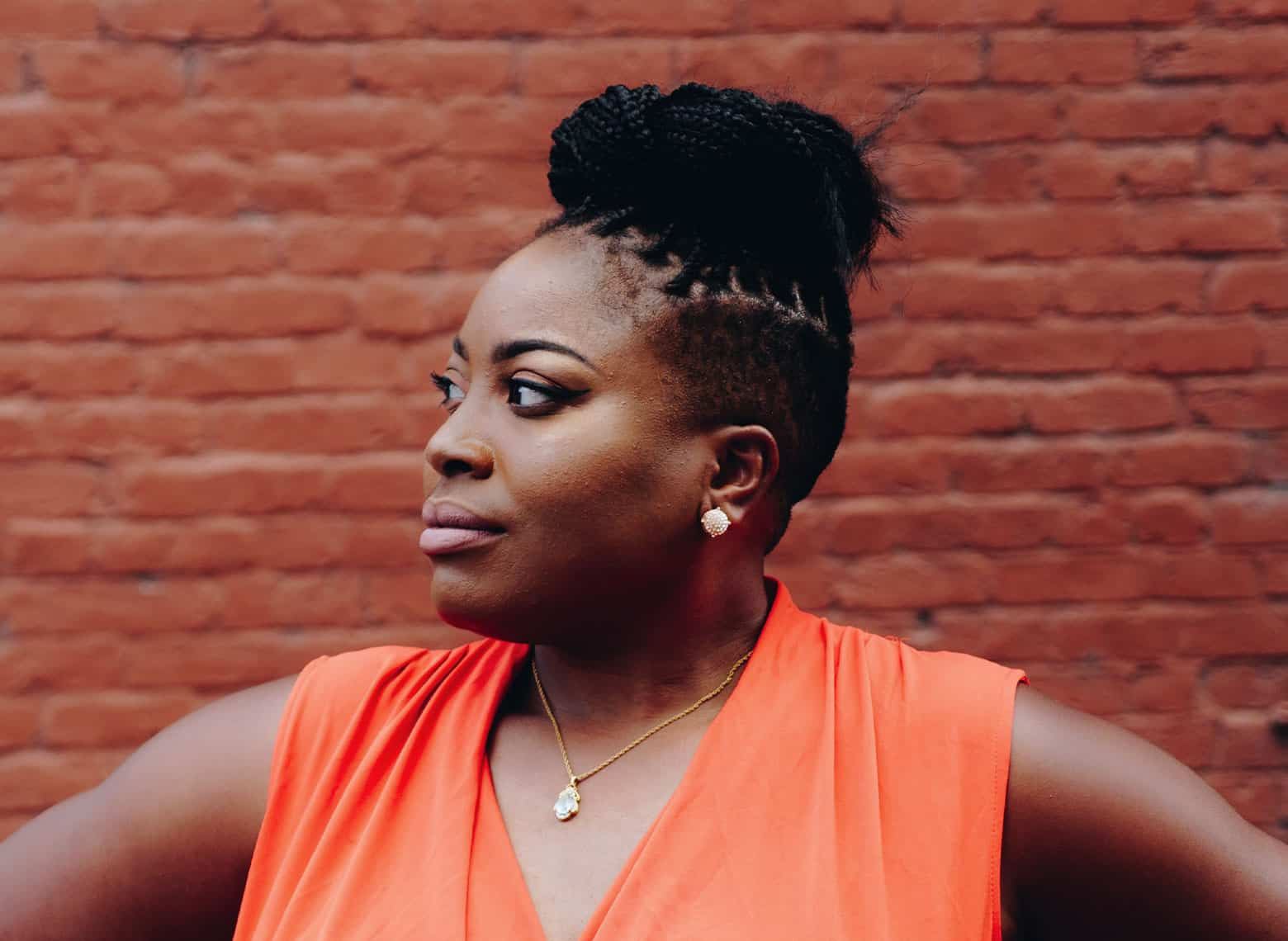 woman with braided mohawk