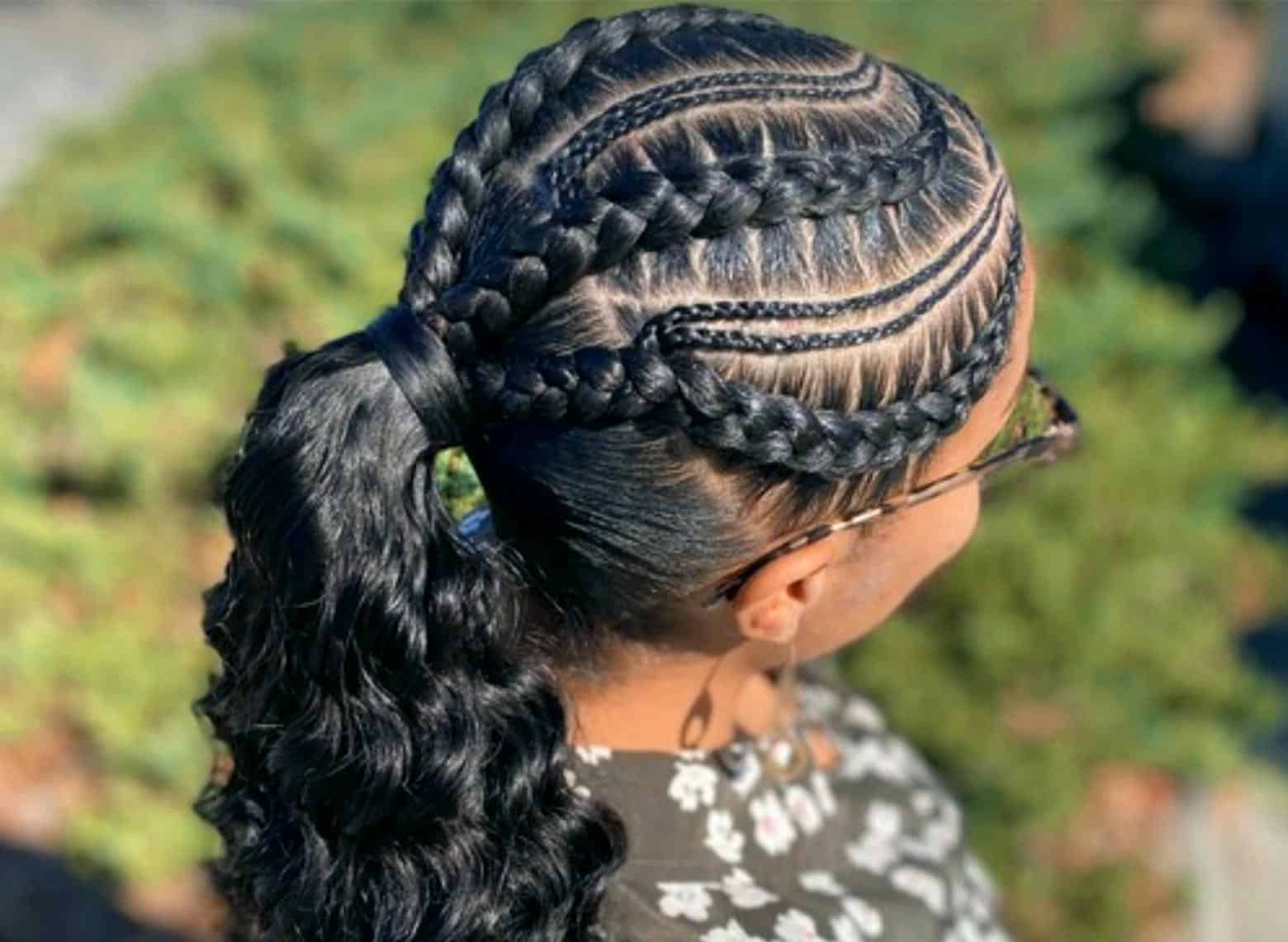 woman with braided ponytail