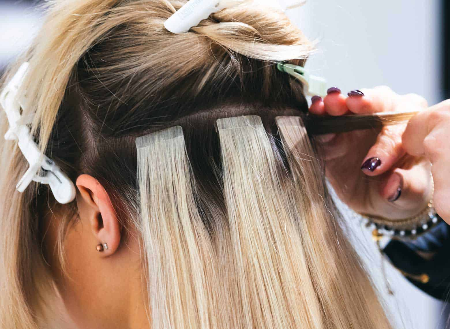 installing tape-in hair extensions