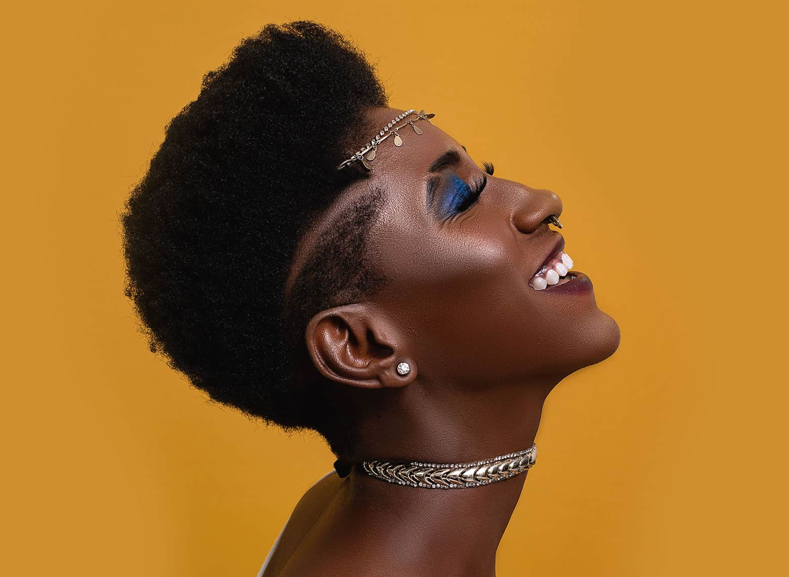 woman with tapered natural hair