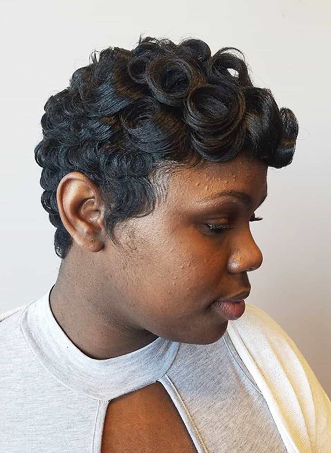 woman with pin curls