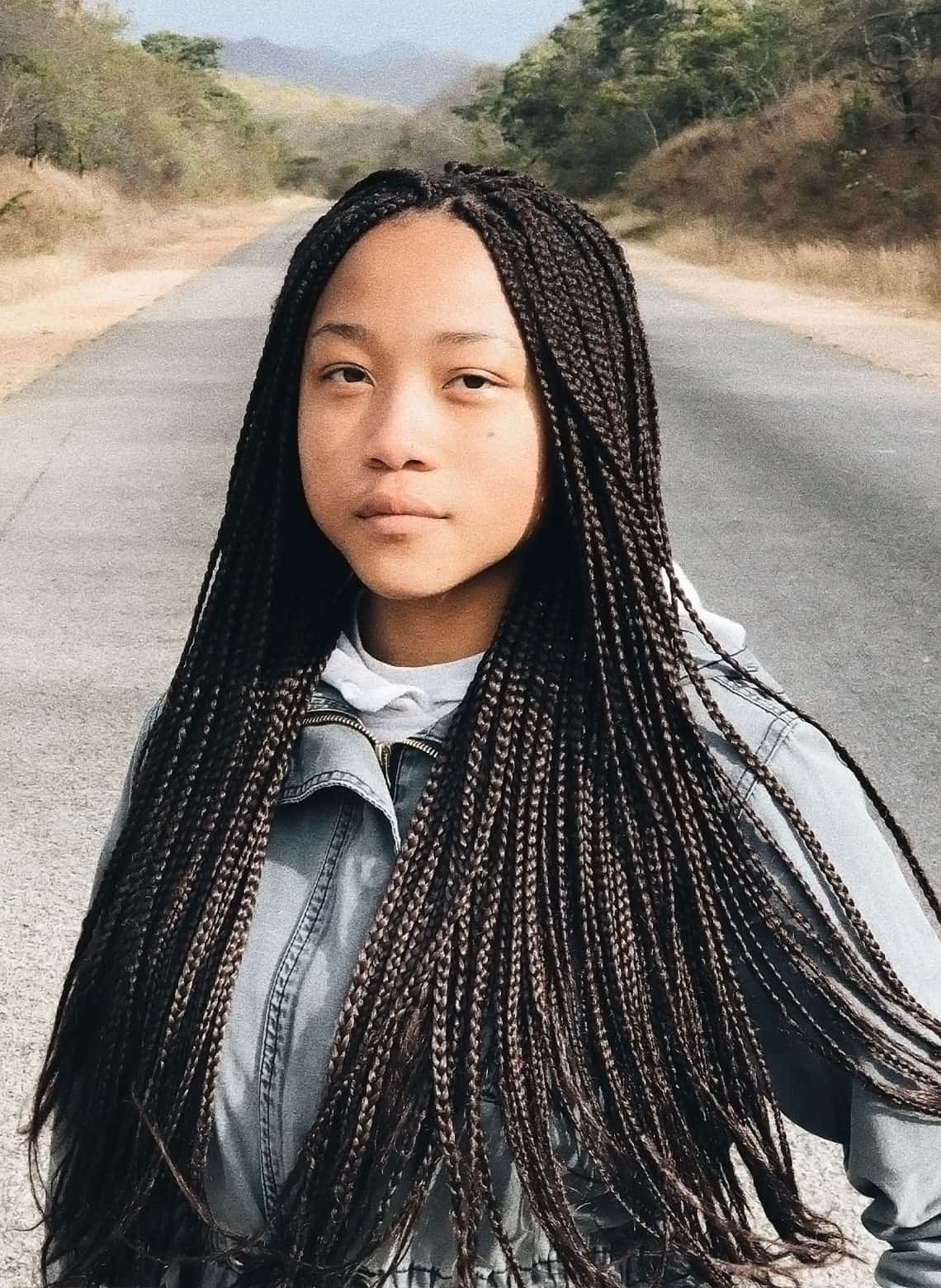 woman with micro braids