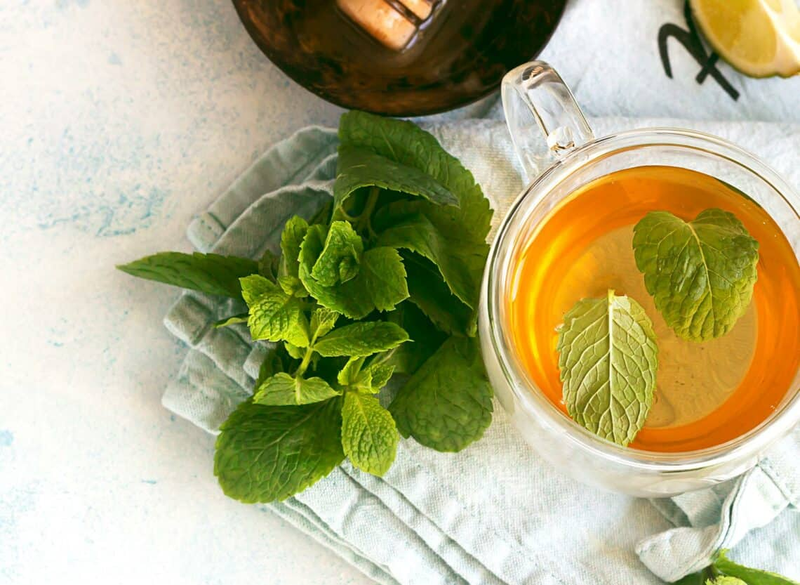 spearmint tea top view