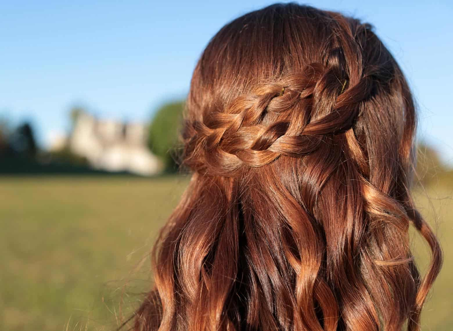 woman with half up double braids