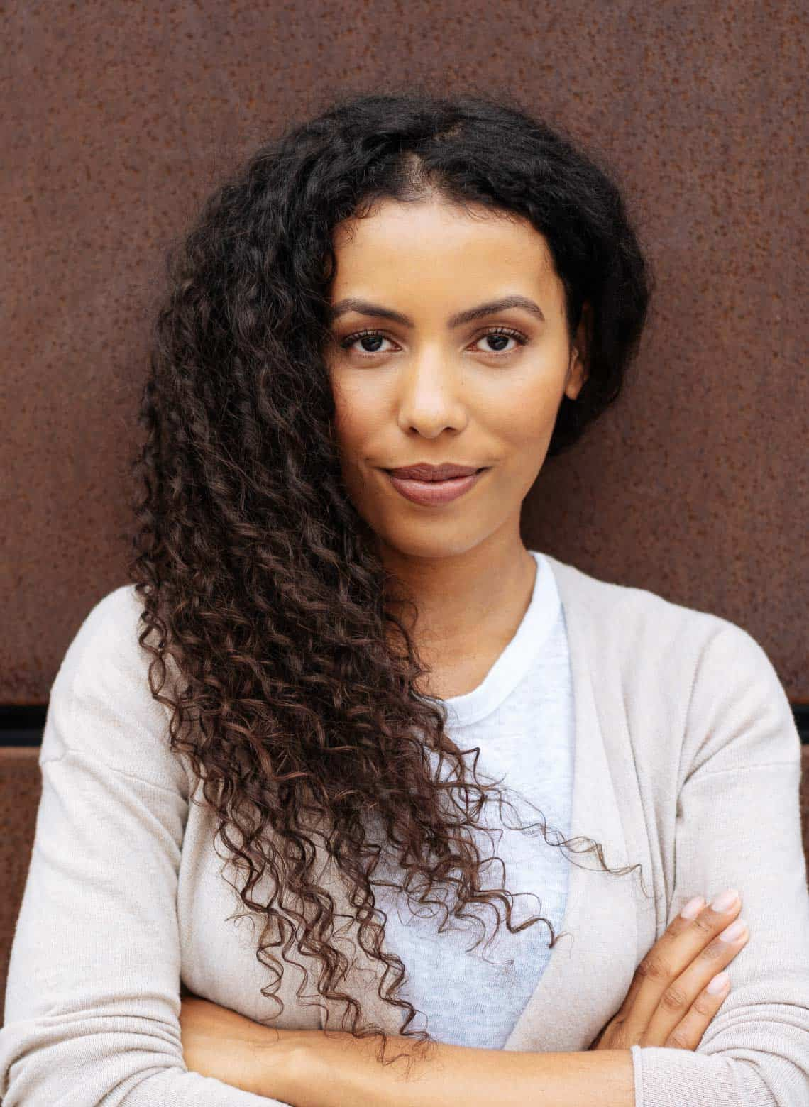 woman with long natural curls