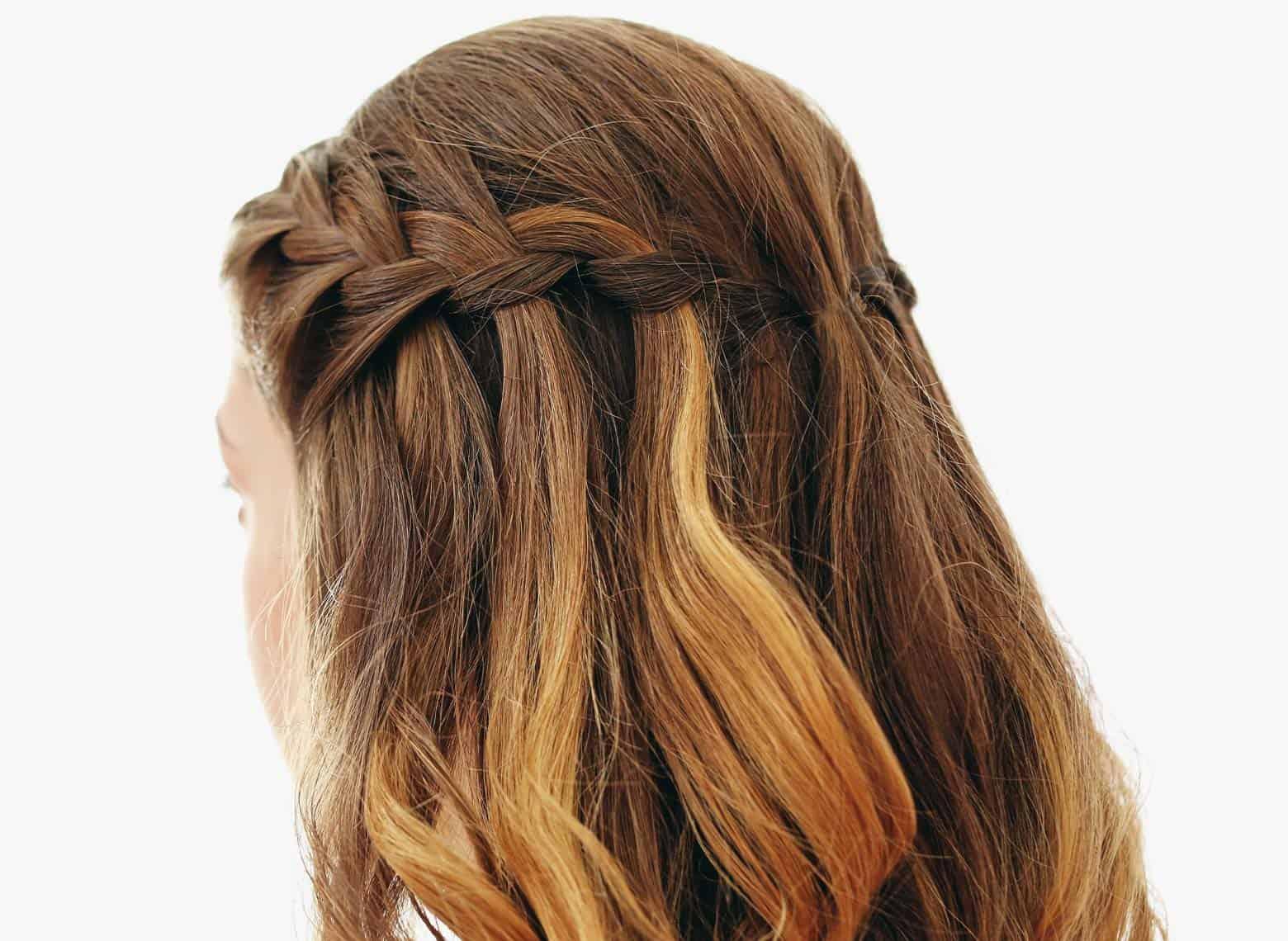 woman with waterfall braid