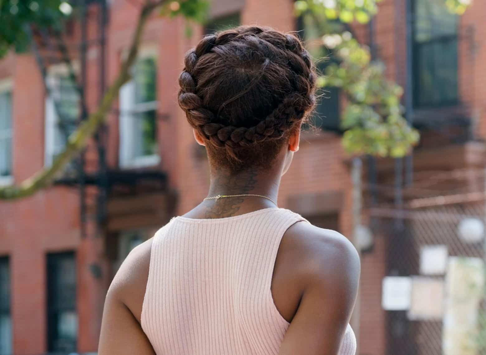 woman with crown braid
