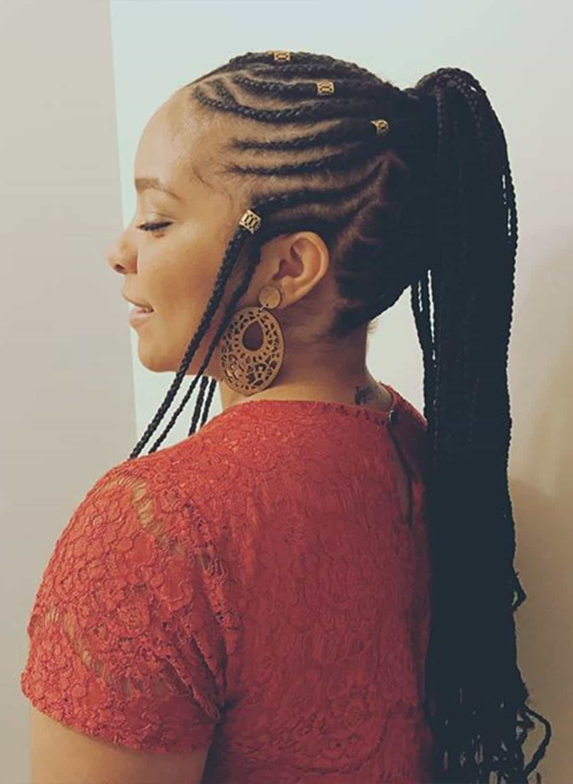woman with fulani braid with ponytail