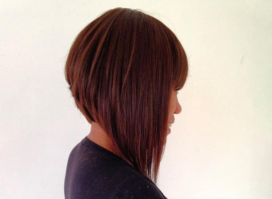 woman with long a-line bob