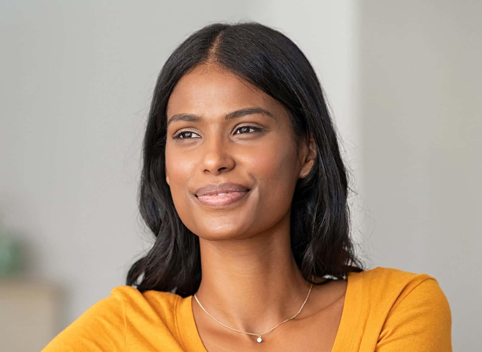 woman with mid-length cut hair