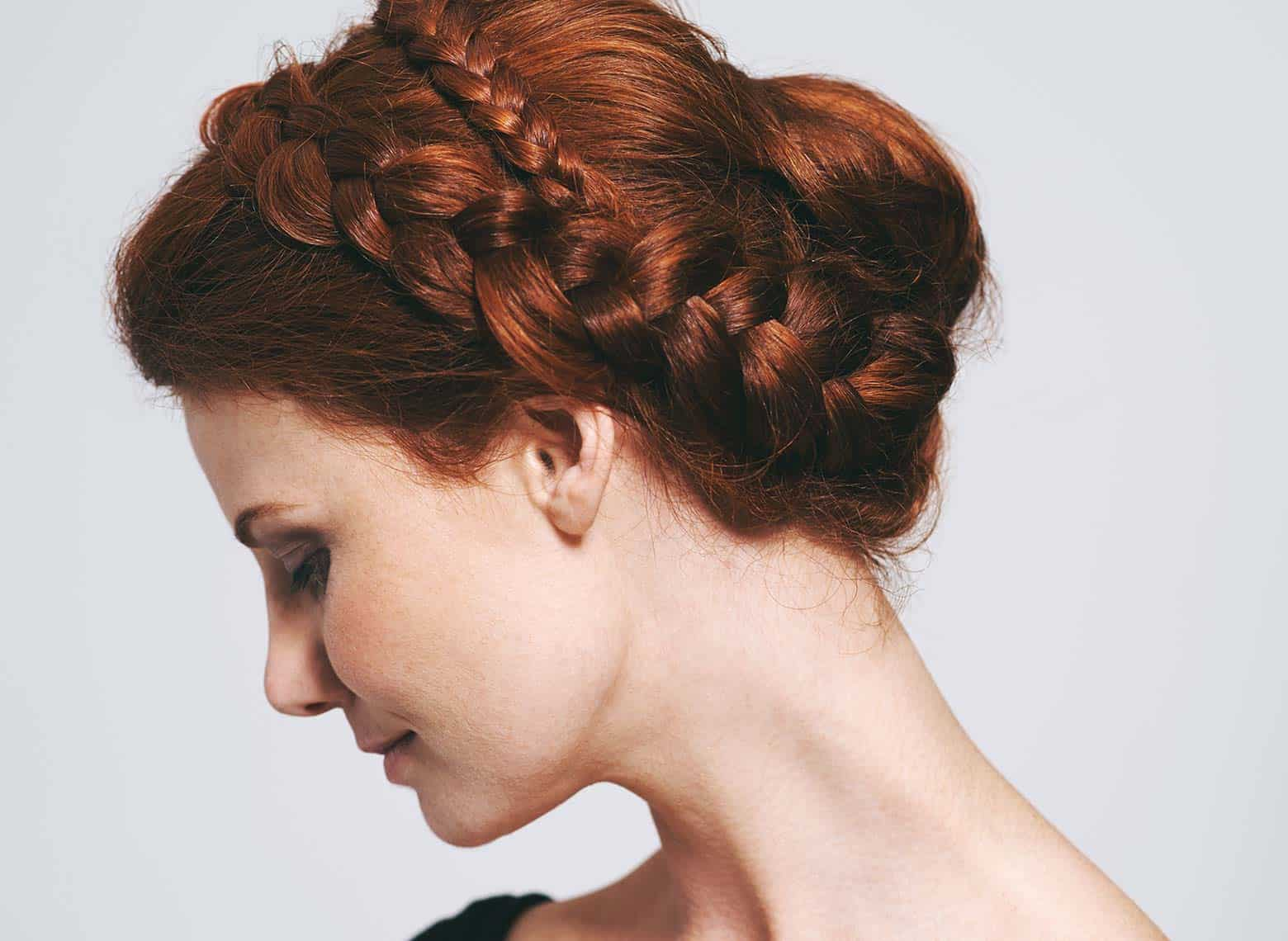 woman with braided updo
