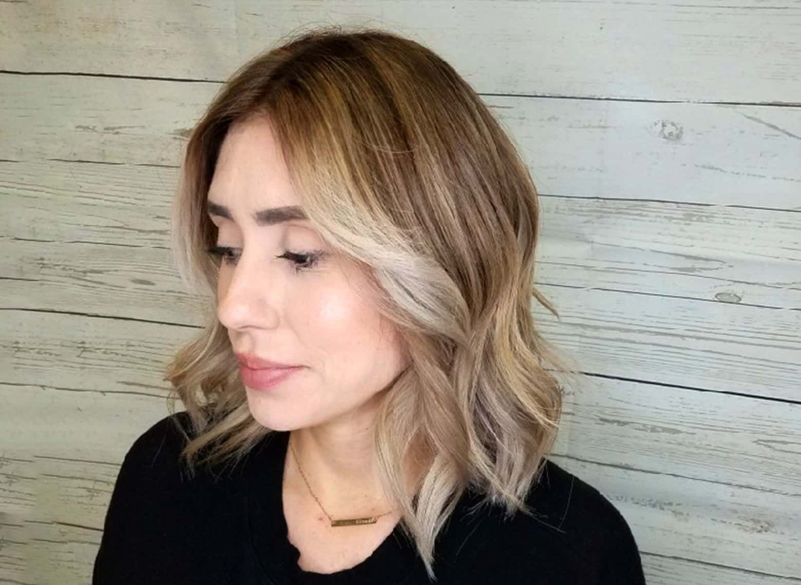 woman with middle parts and highlights