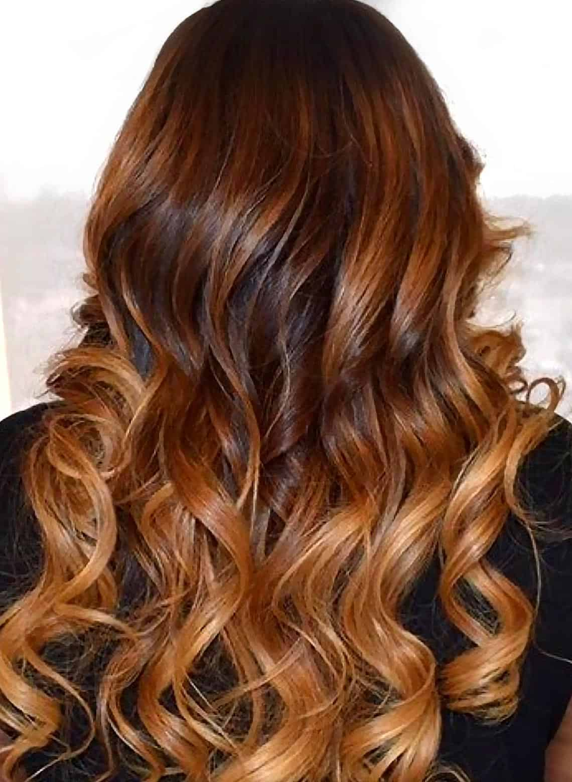 woman with curly ombré