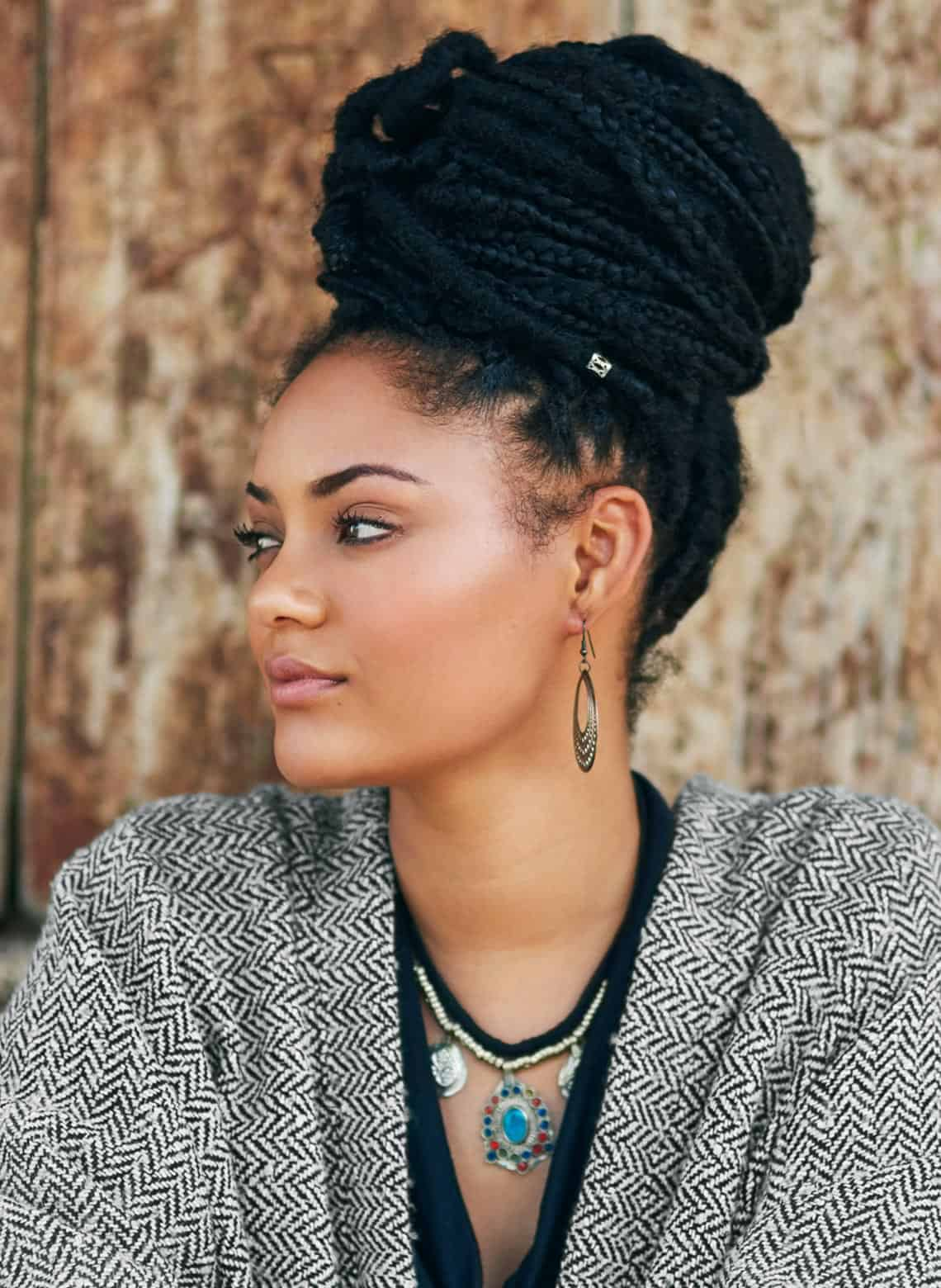 woman with large braided bun