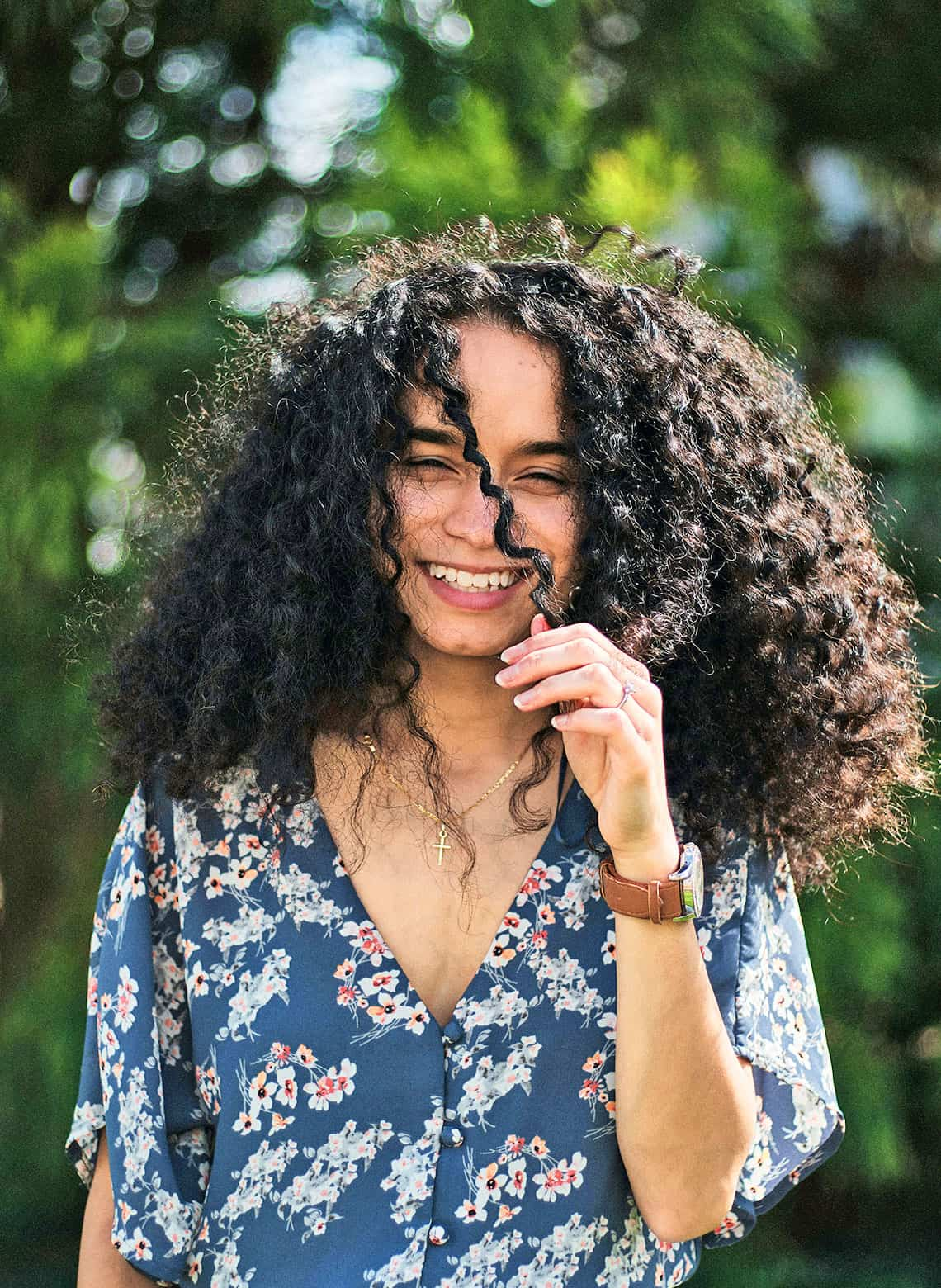 woman with naturally voluminous curls
