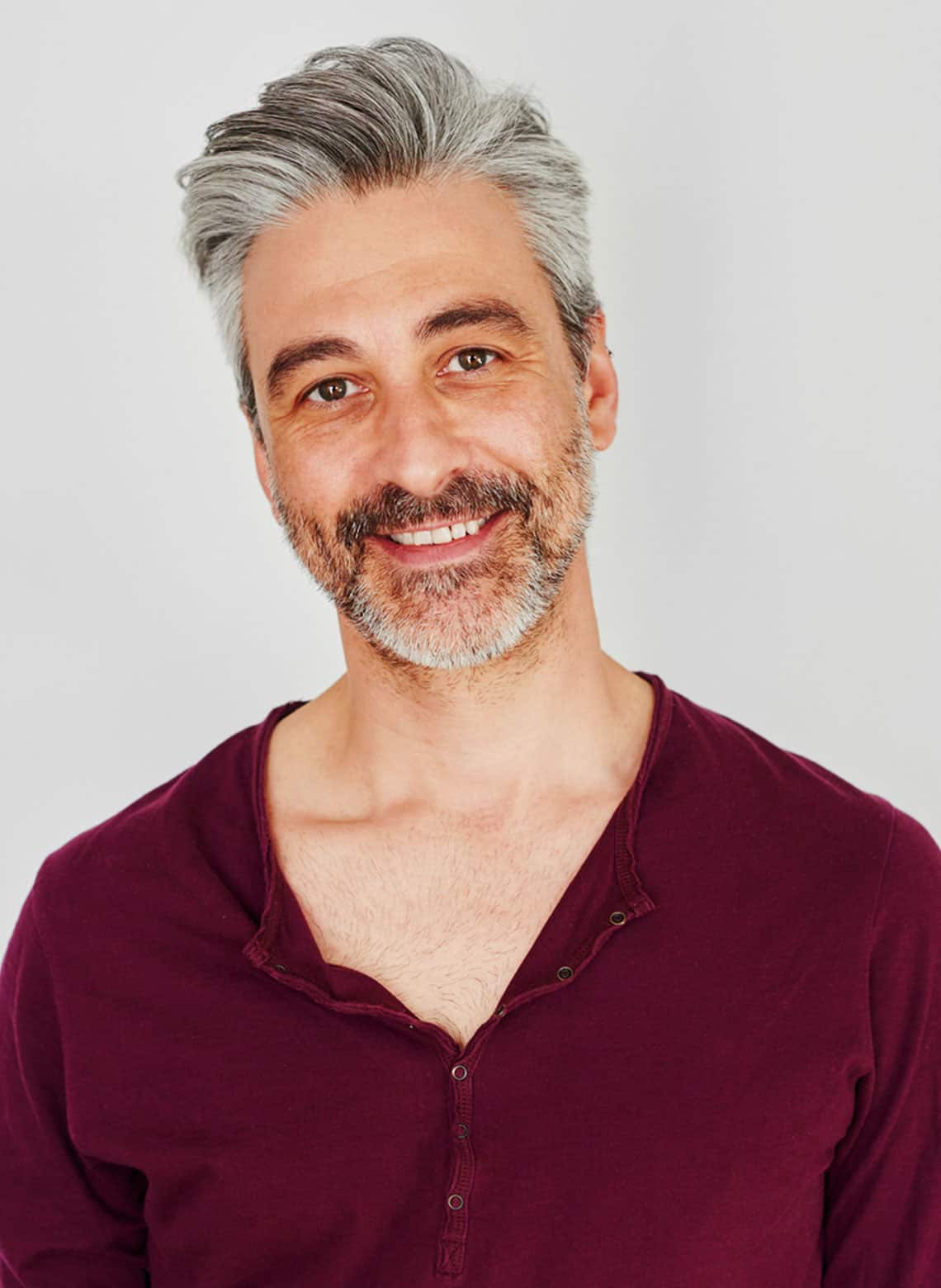 man with side swept hair