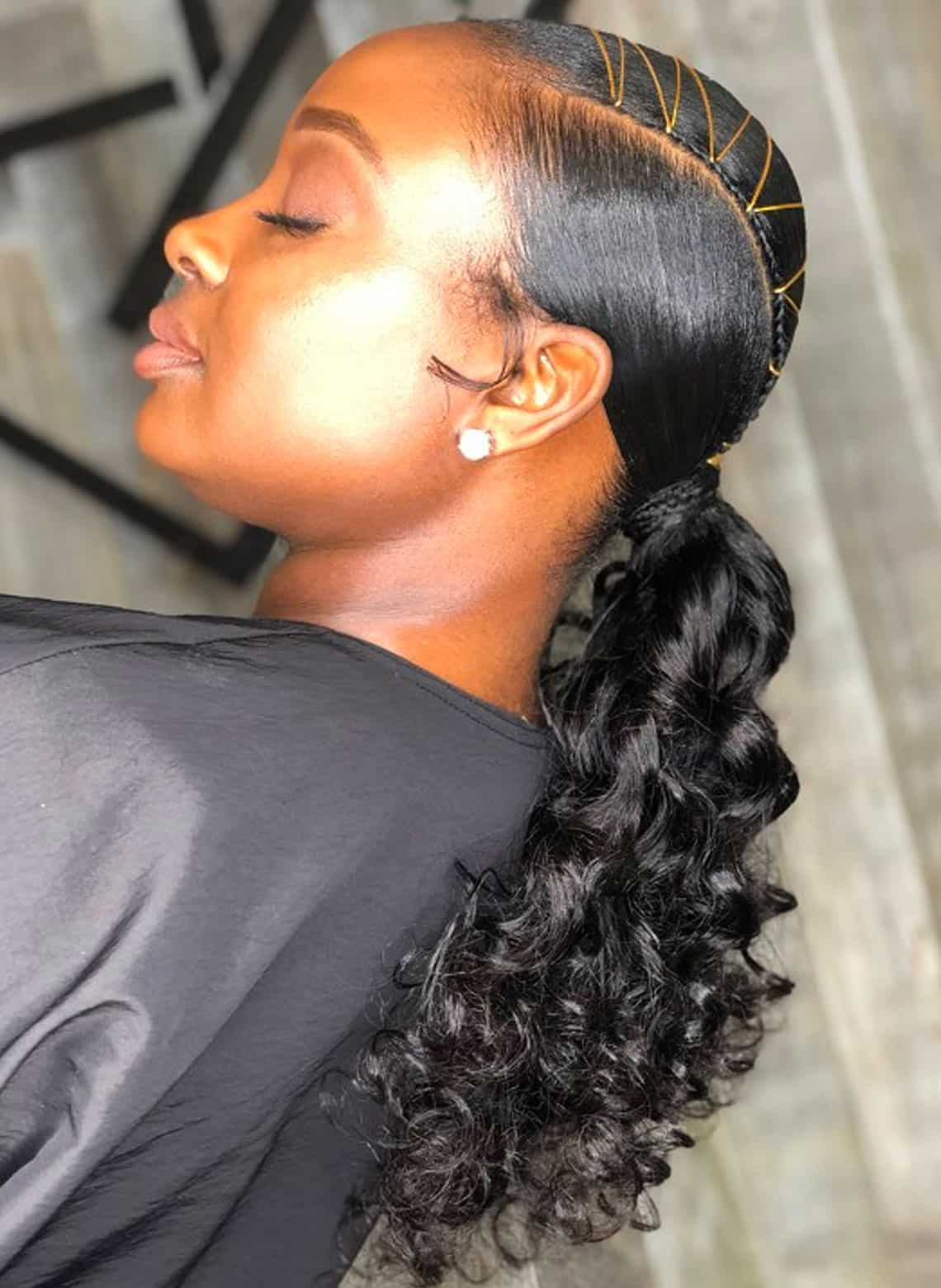 woman with curly ponytail