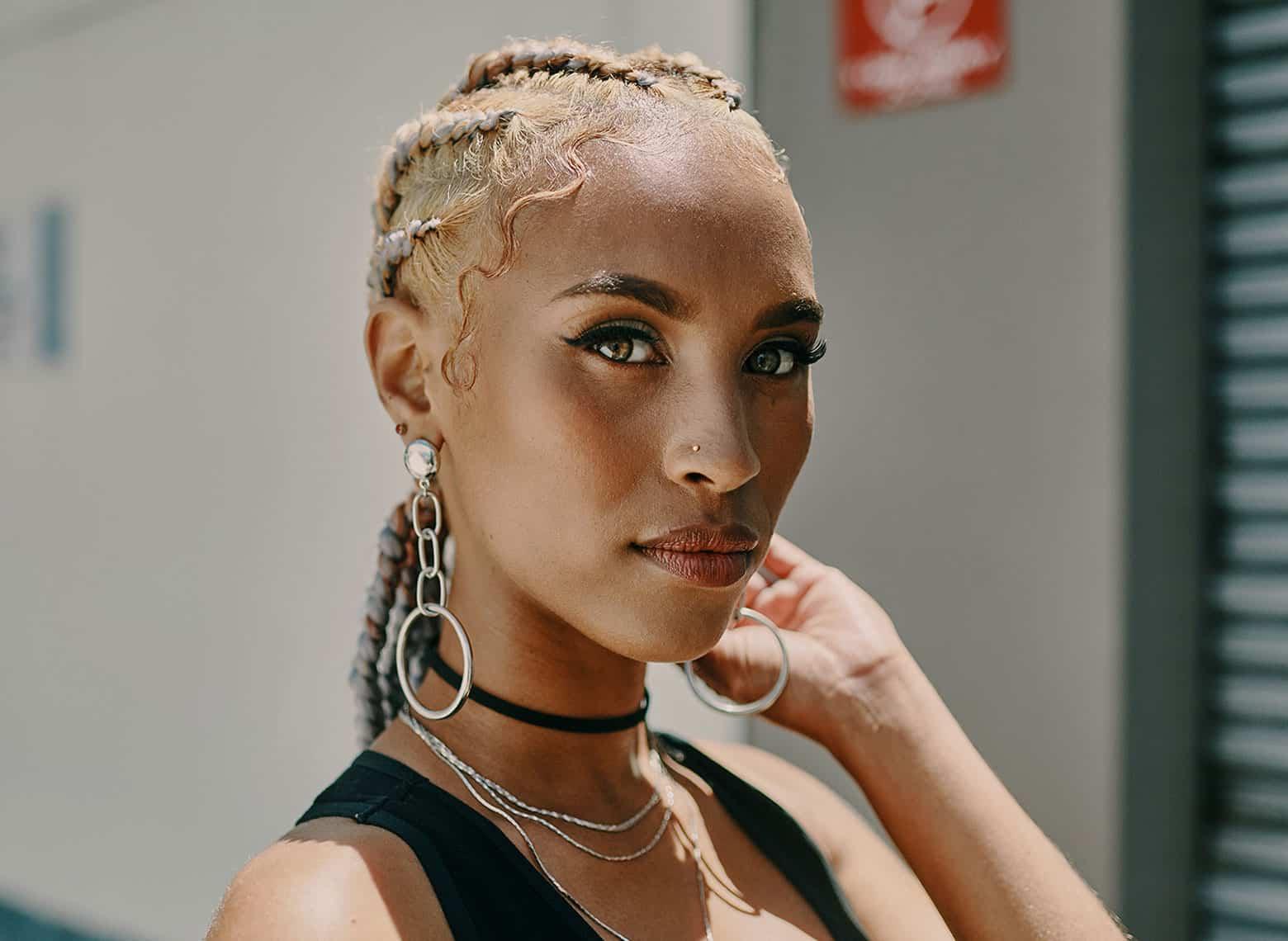 woman with goddess braids