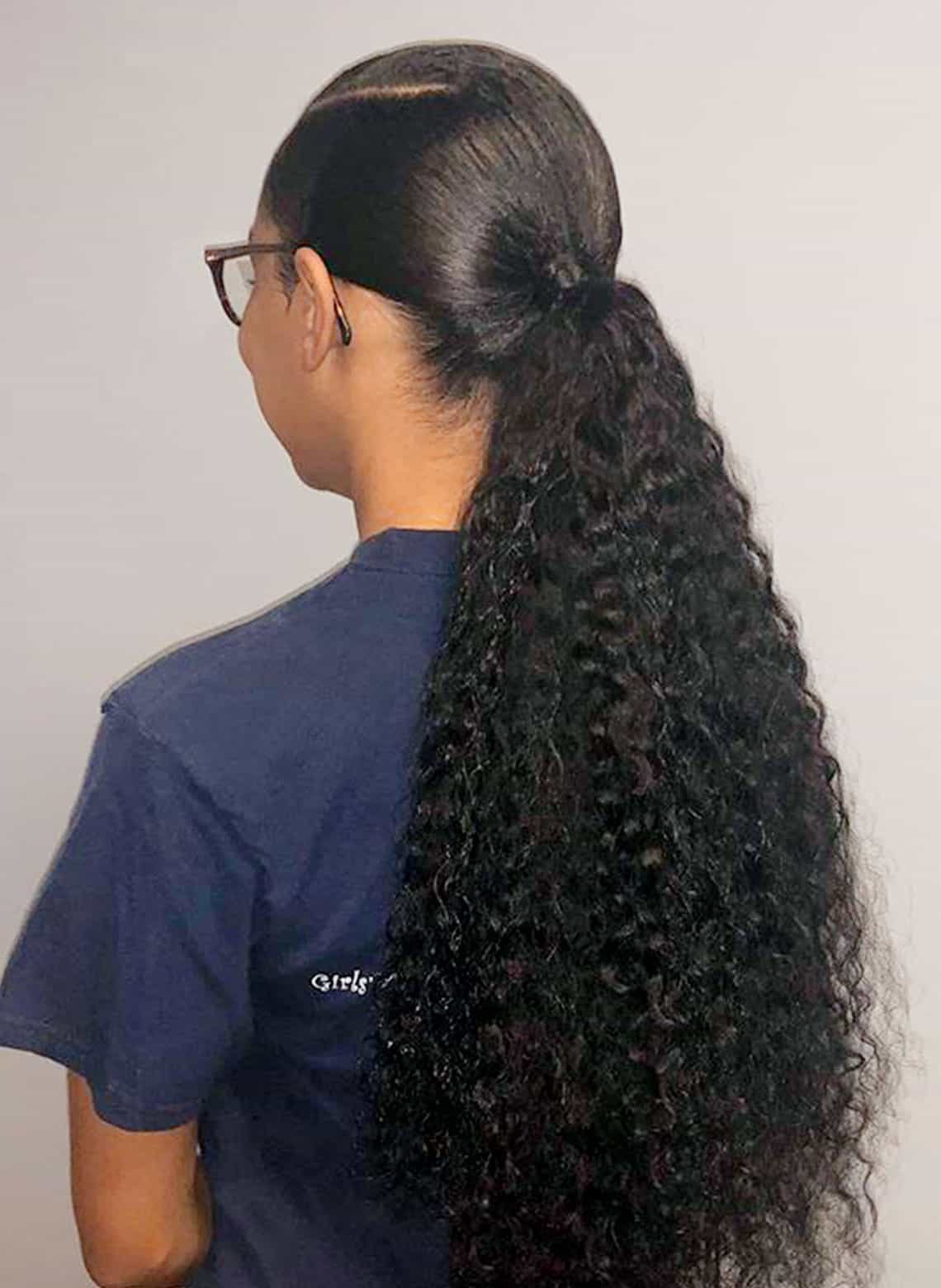 woman with low ponytail