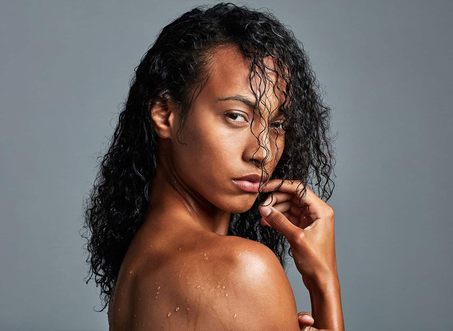 woman with wet look hair