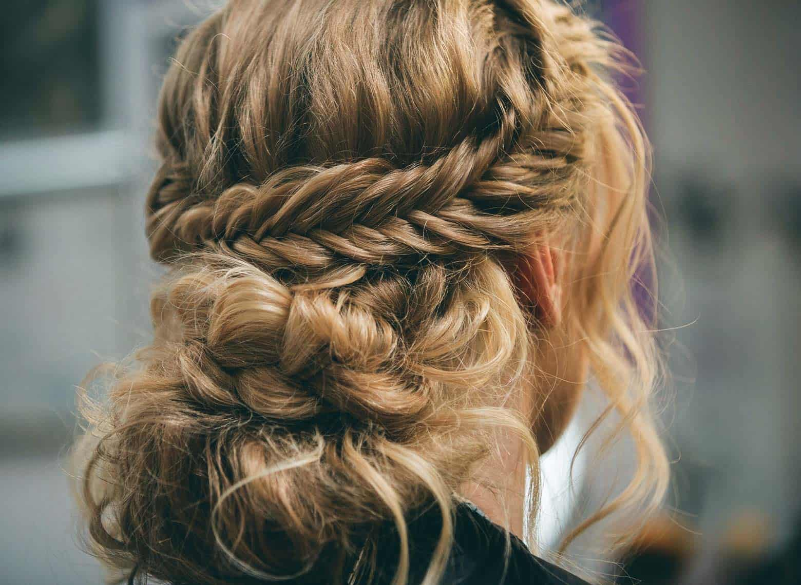 woman with fishtail braided updo