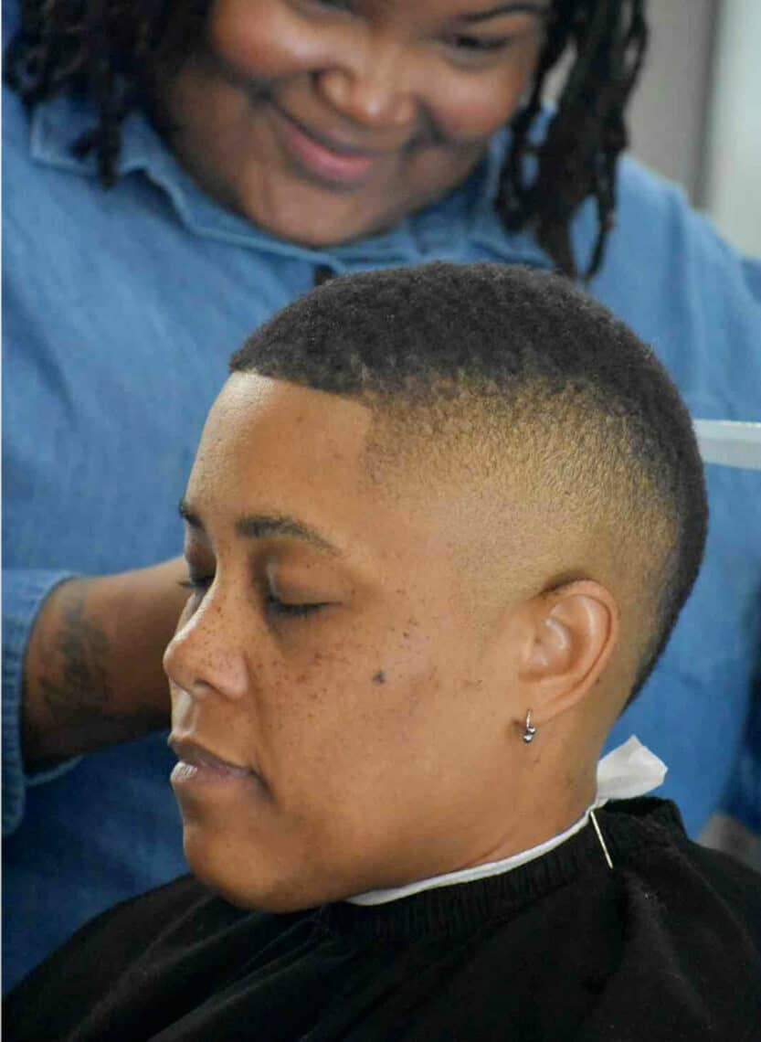 person with buzz cut