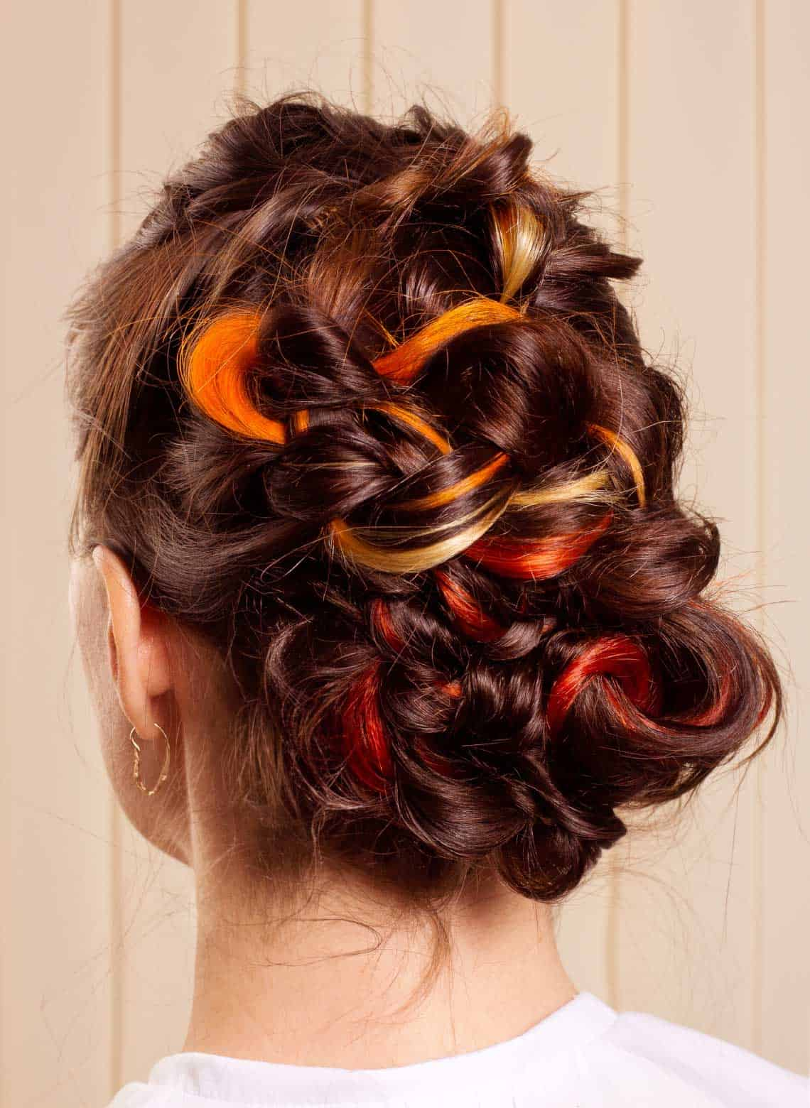woman with curly updo