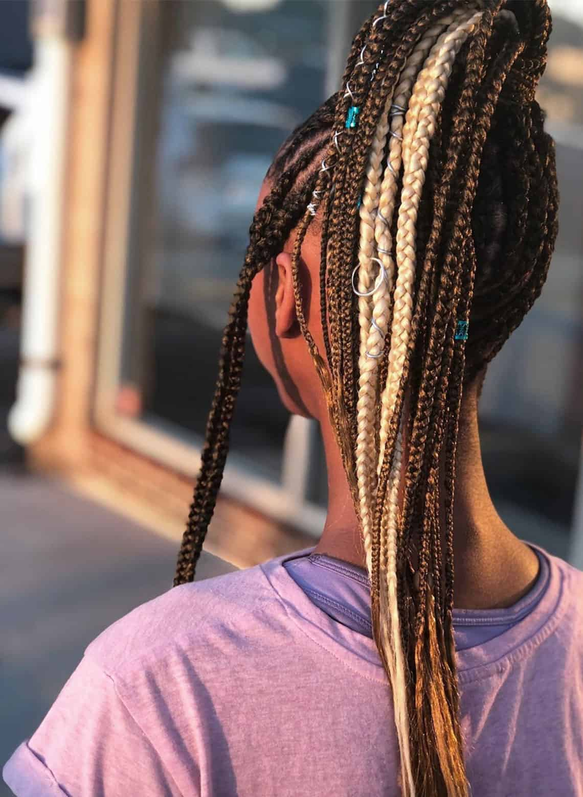 woman with accessorized braids
