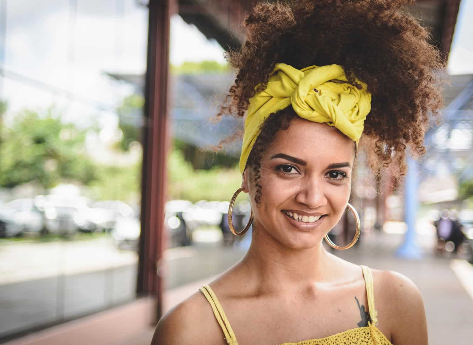 woman with curly pineapple
