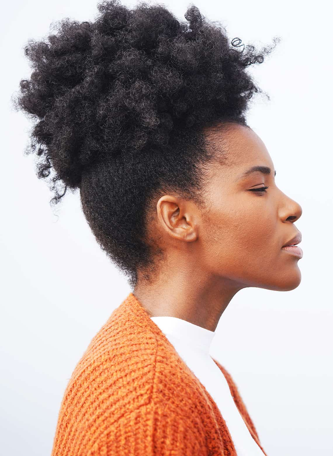 woman with high puff