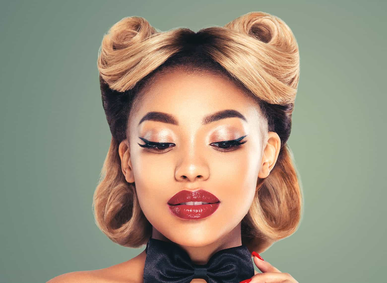 woman with victory rolls