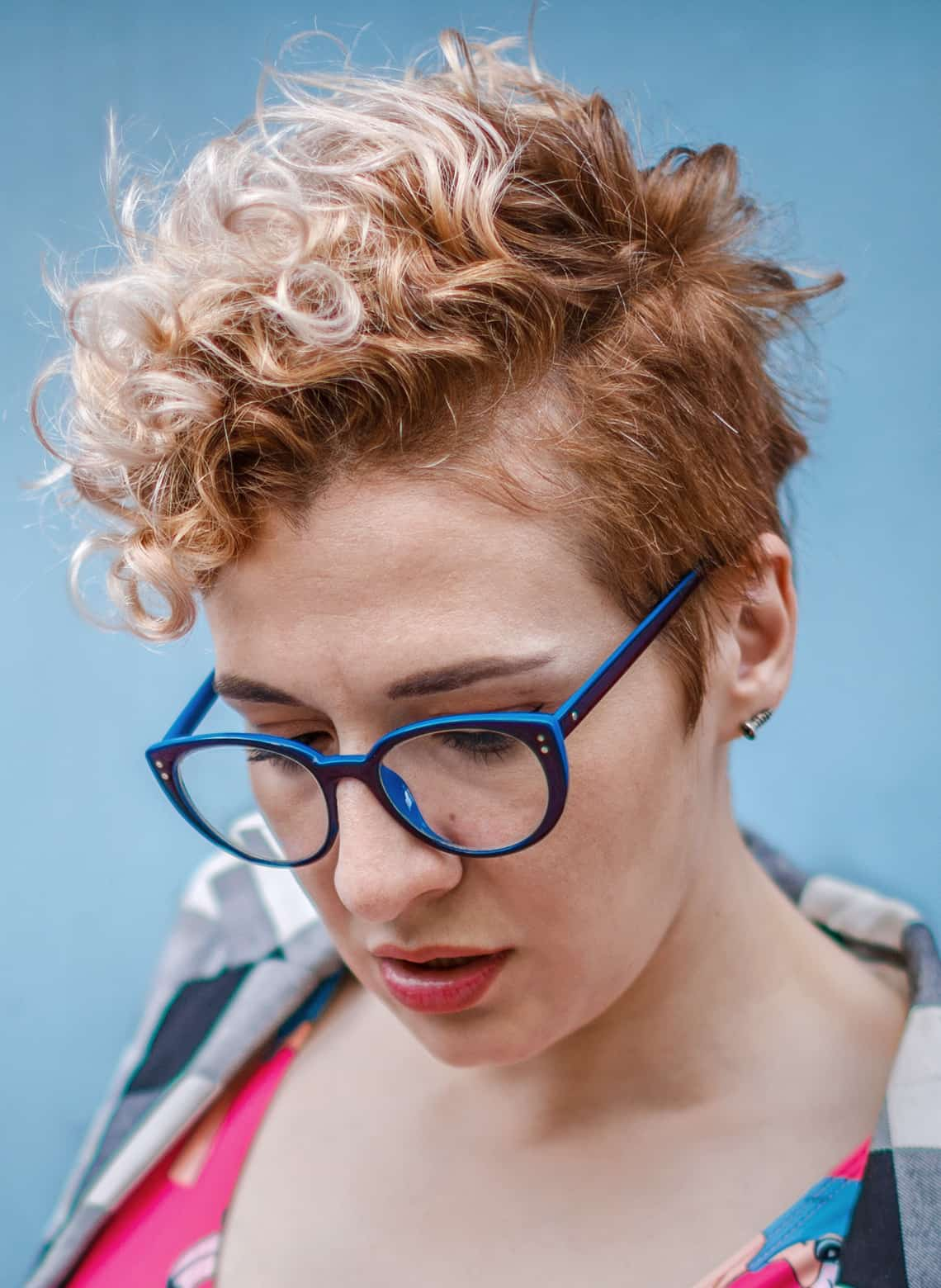 woman with faux hawk