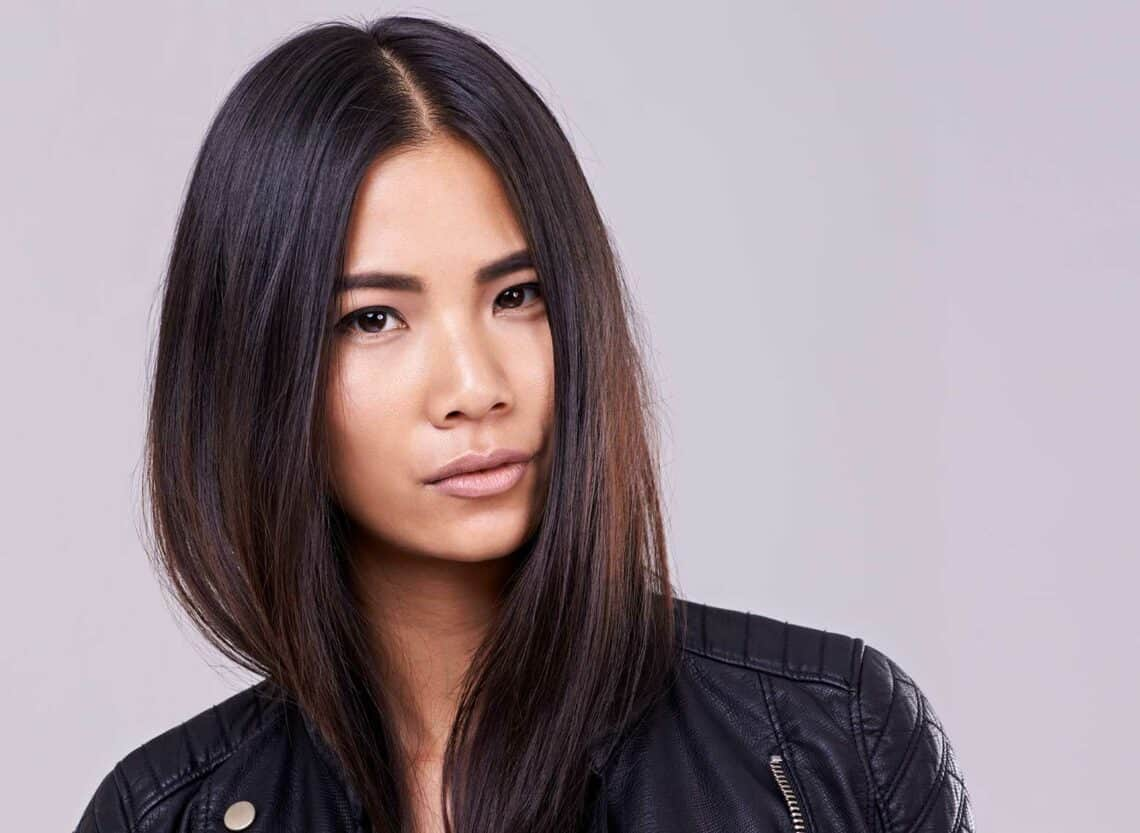 woman with sleek and super straight hair