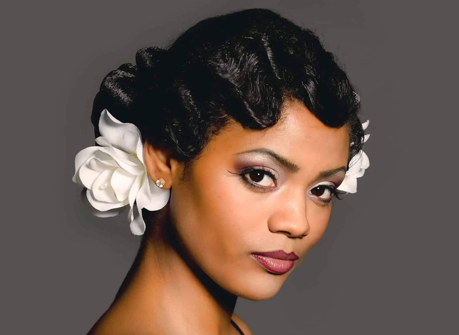 woman with short hair and retro curls