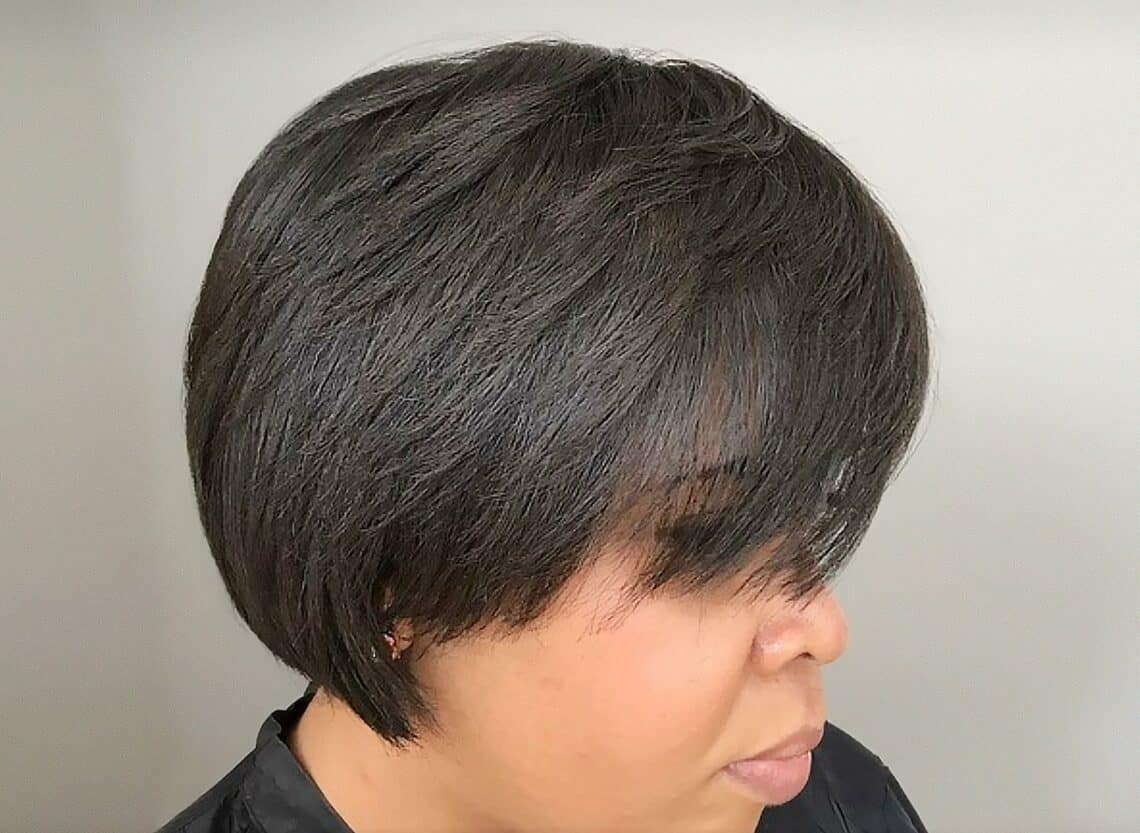 woman with feathered pixie cut