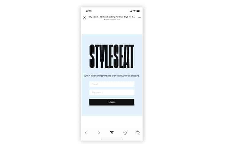 StyleSeat Instagram login page