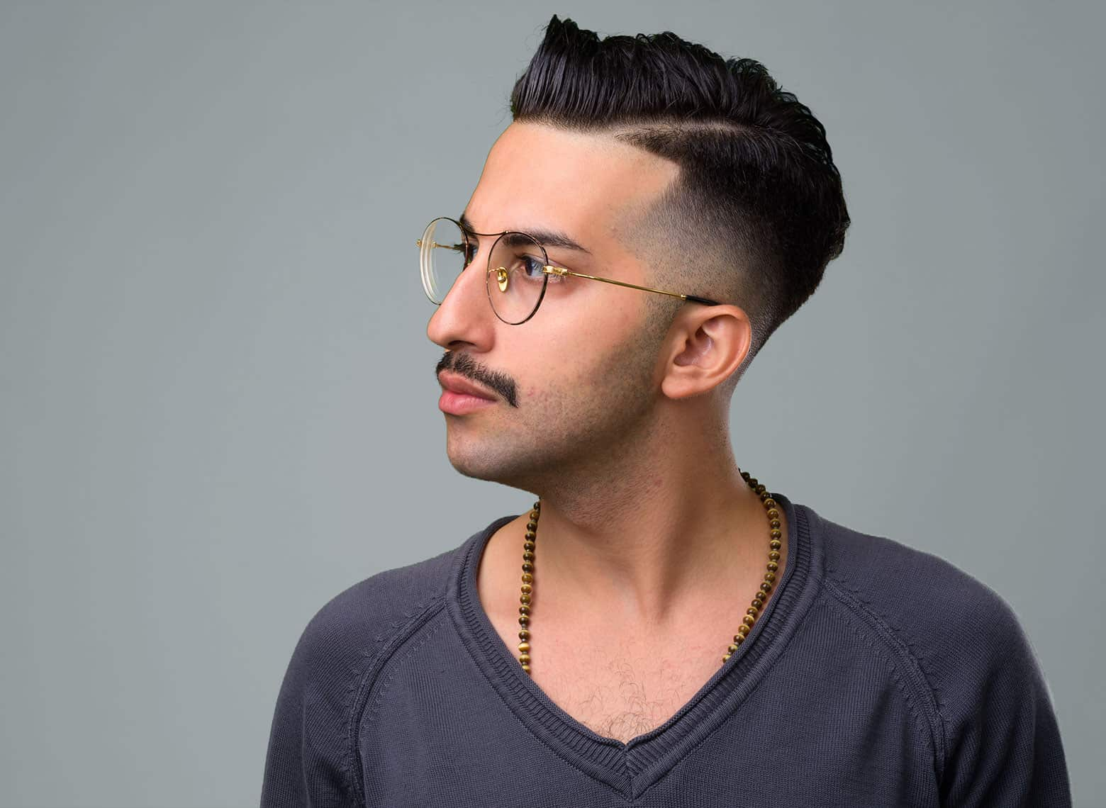 man with comb over fade