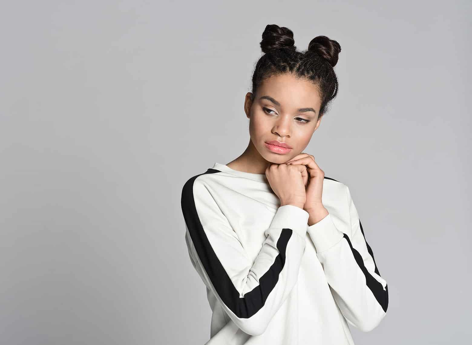 woman with double buns