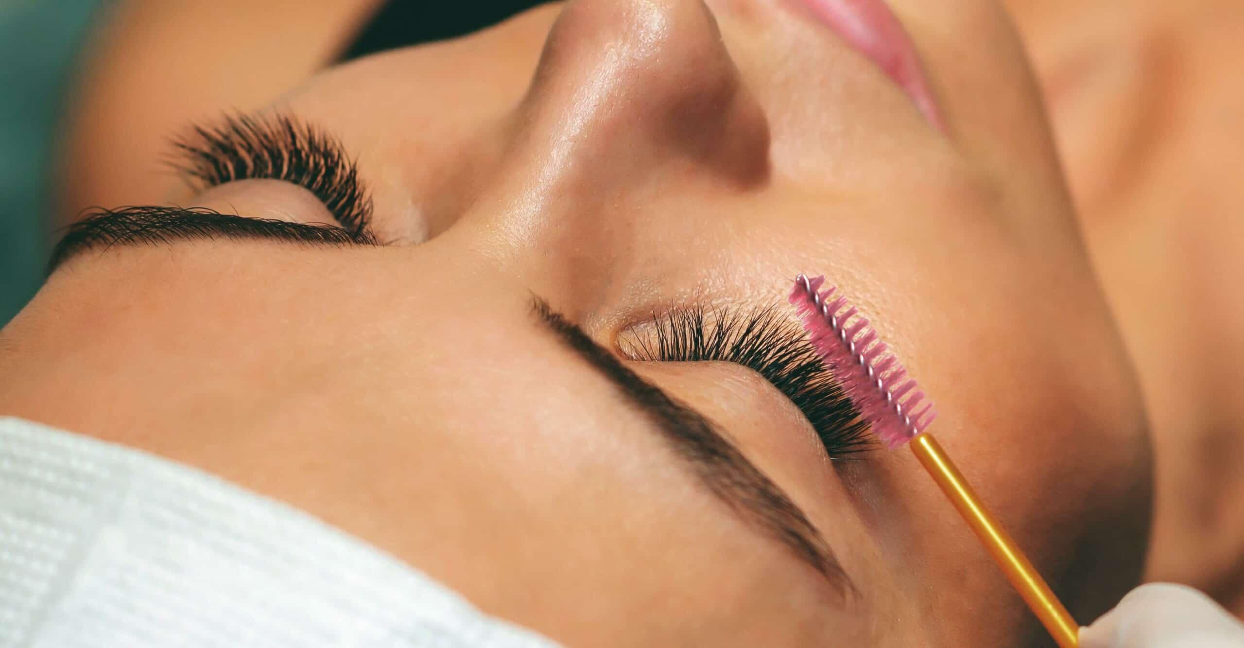 person getting eyelash tinting