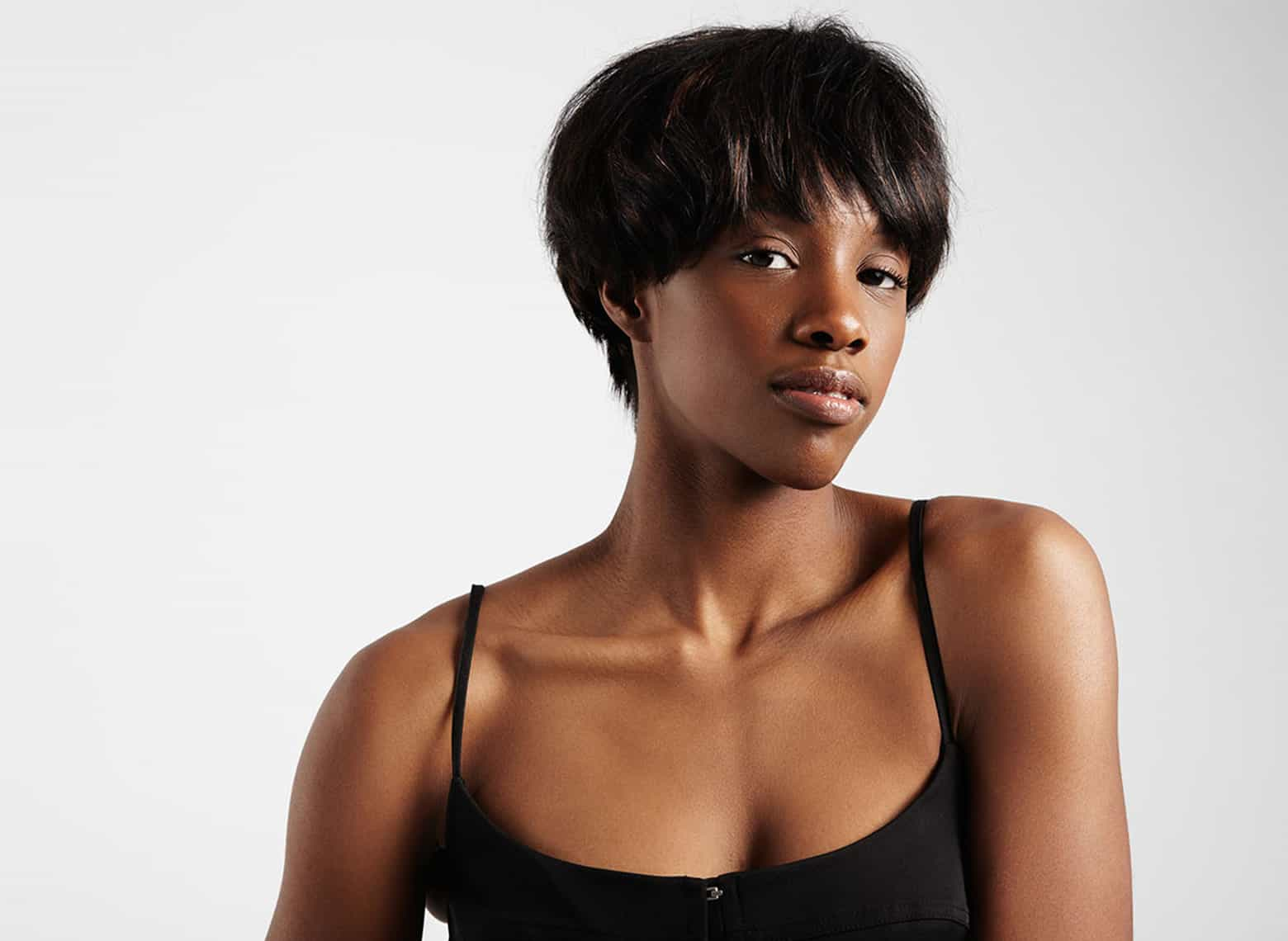 woman with a pixie bob combo