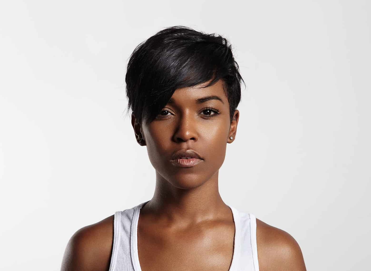 woman with pixie and side swept bang