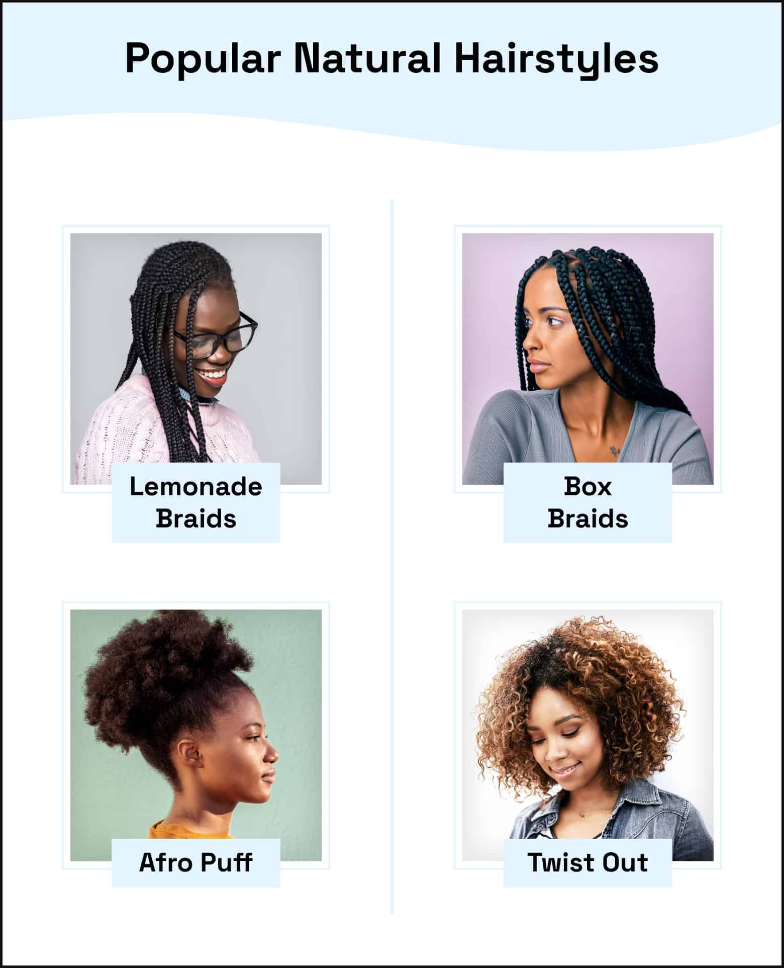 popular hairstyles lemonade braids box braids afro puff twist out