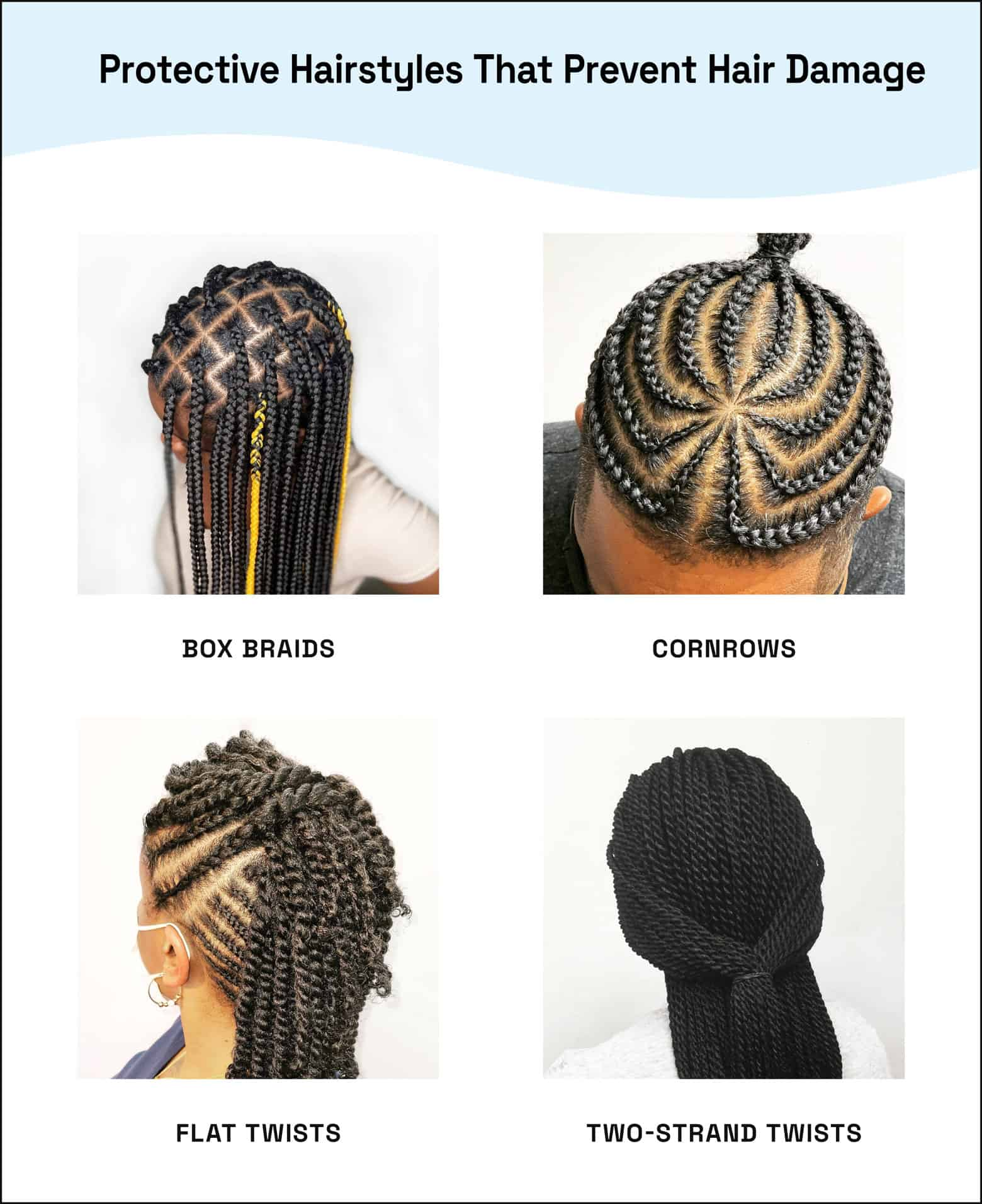 examples of protective styles box braids cornrows flat twists two strand twists
