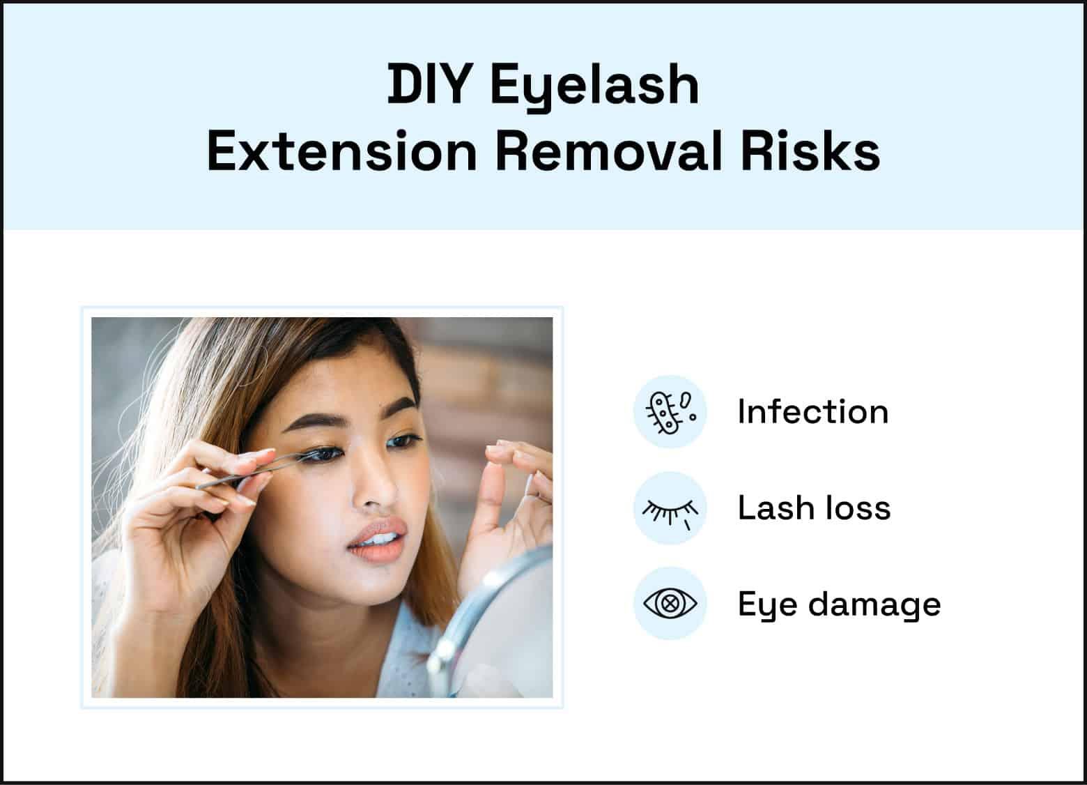 diy eyelash extension removal risks infection lash loss eye damage