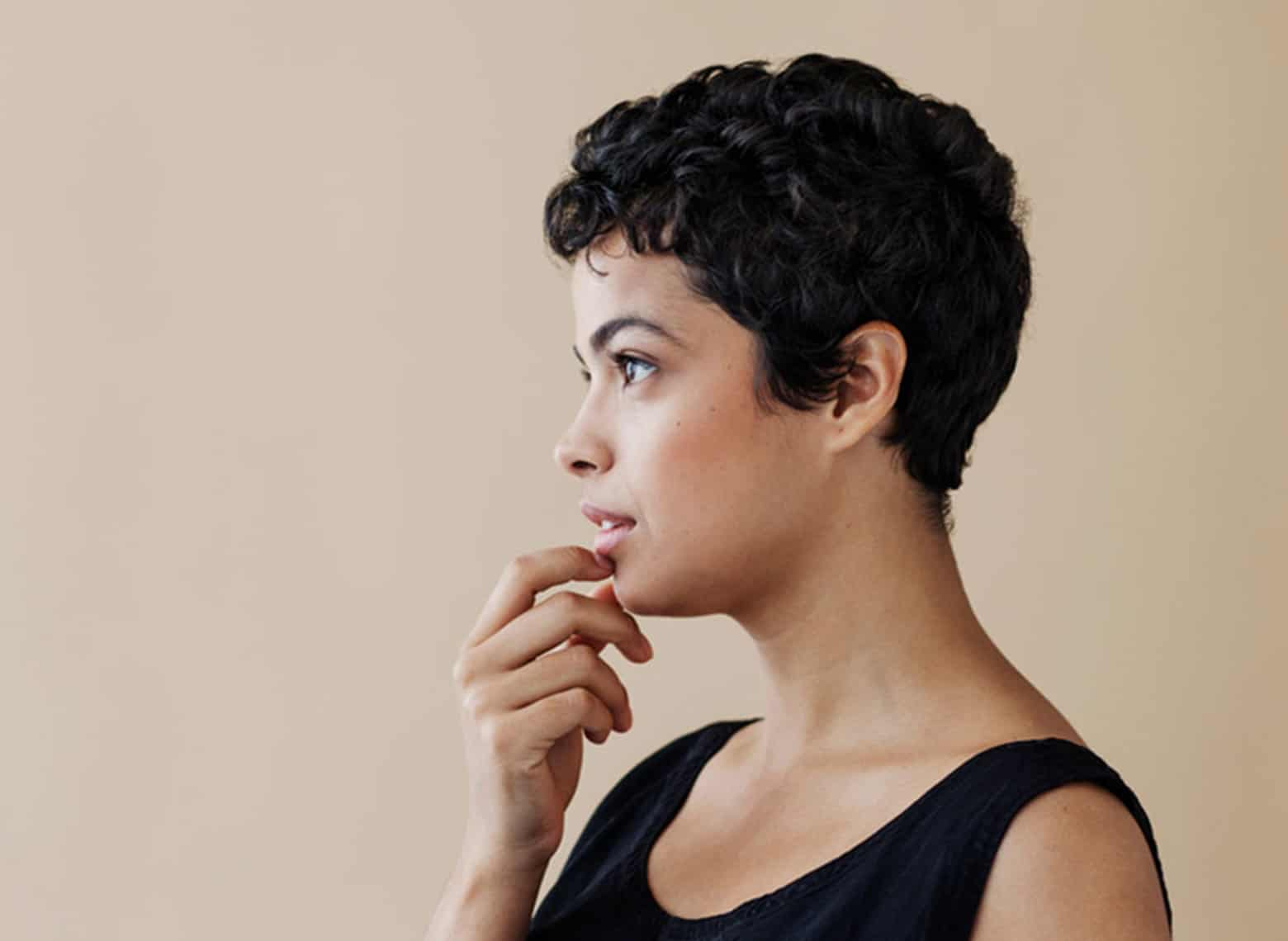 woman with retro curled pixie