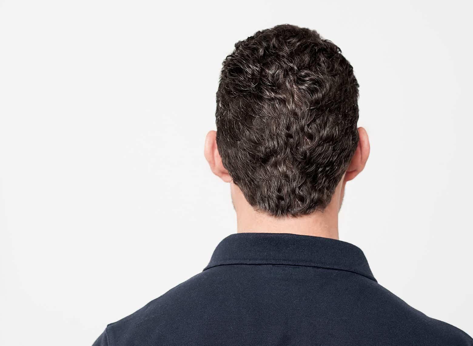 man with round neckline