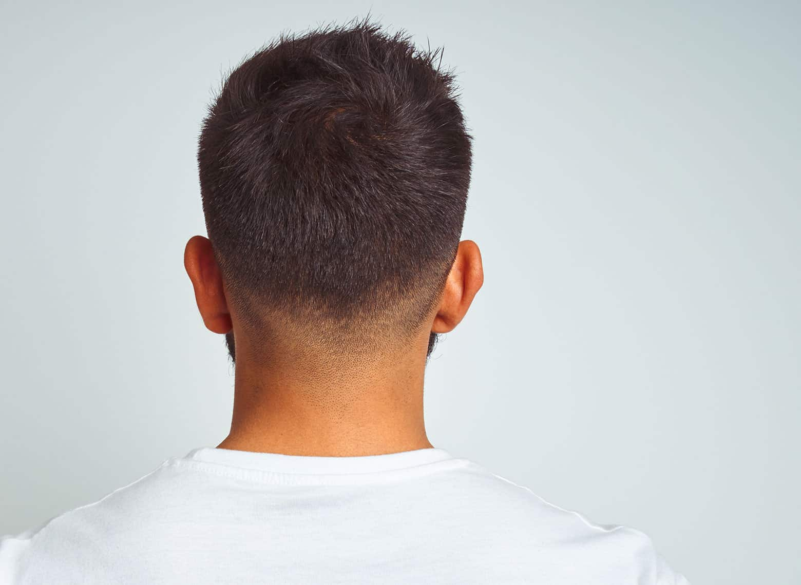 man with tapered neckline
