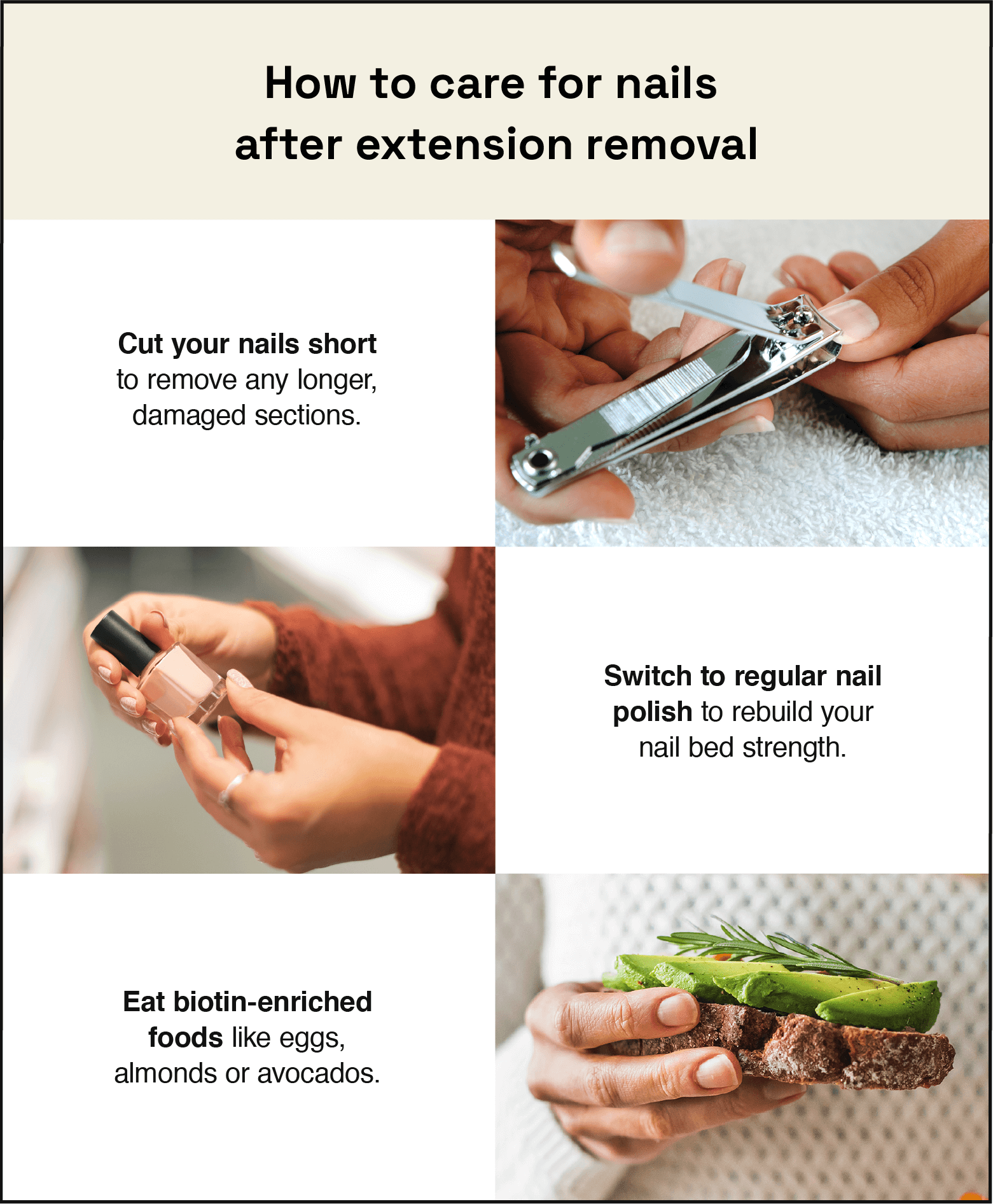 how to care for nail extension after removal